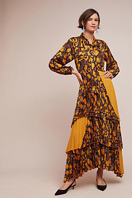 Slide View: 1: Pleated Marigold Maxi Dress