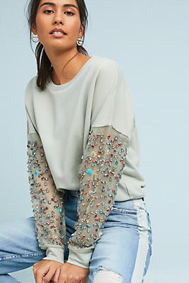 Slide View: 1: Beaded-Sleeve Pullover