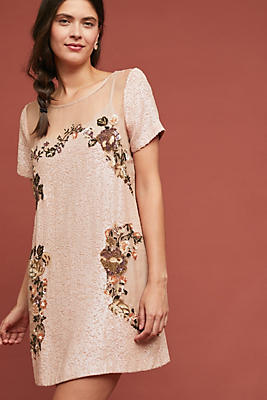Slide View: 1: Sequin Silk Mini Dress