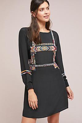 Slide View: 1: Beaded Silk Mini Dress