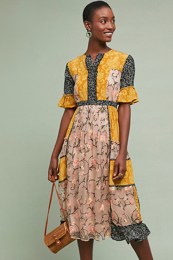 Mina Patchwork-Silk Midi Dress - Yellow, Size Xs