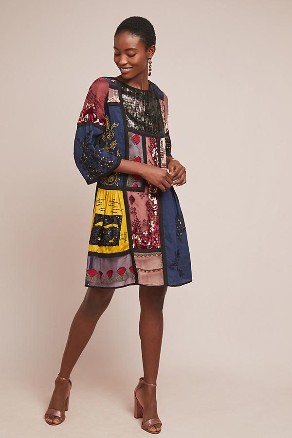 Armana Patchworked Dress - Blue, Size L