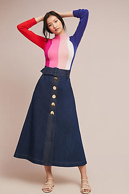 Slide View: 1: PAPER London Wallace Belted Denim Skirt