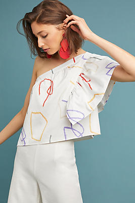 Slide View: 1: Graphic One-Shoulder Blouse