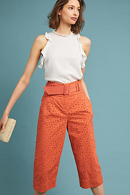 Slide View: 1: Cropped Eyelet Trousers