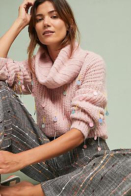 Slide View: 1: Sequin Turtleneck Sweater