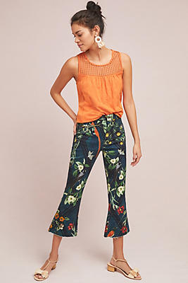Slide View: 1: PatBO Floral Cropped Flare Jeans