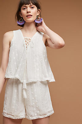 Slide View: 1: Sleeveless Lace-Up Romper
