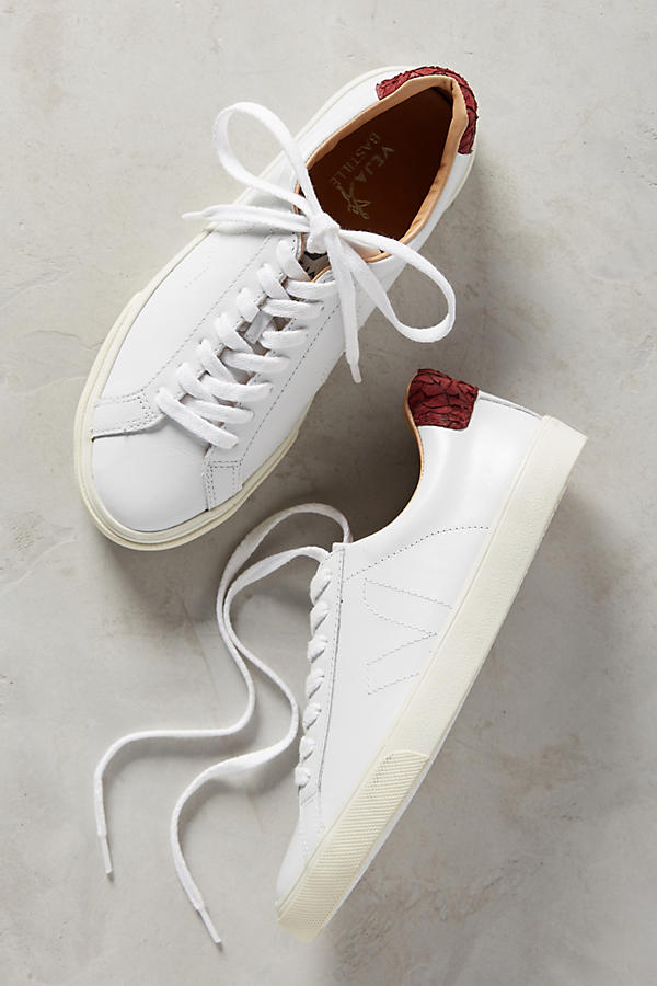 Slide View: 1: Veja Marsala Leather Sneakers