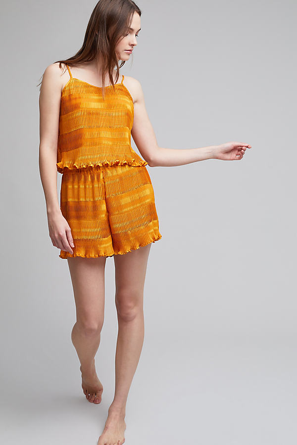 Rhonda Pleated Shorts, Yellow - Yellow, Size M