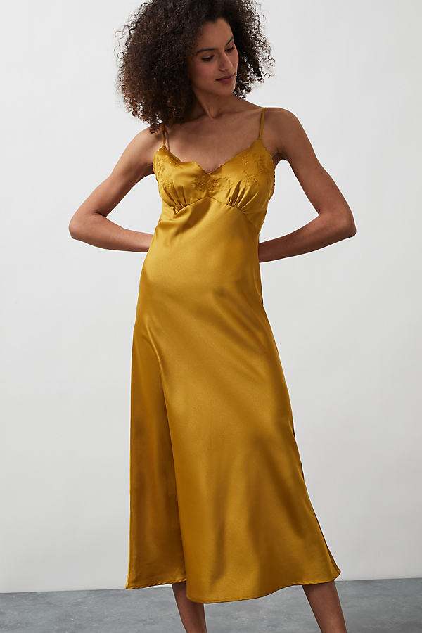 Valerie Satin Midi Slip Dress