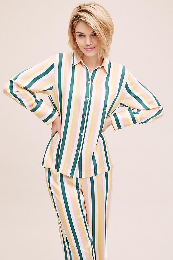 Striped-Silk Sleep Top - Assorted, Size Xs