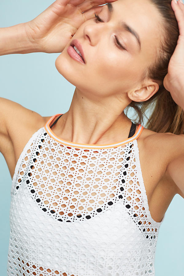 Slide View: 2: L'Etoile Sport Pointelle Mesh Halter Top