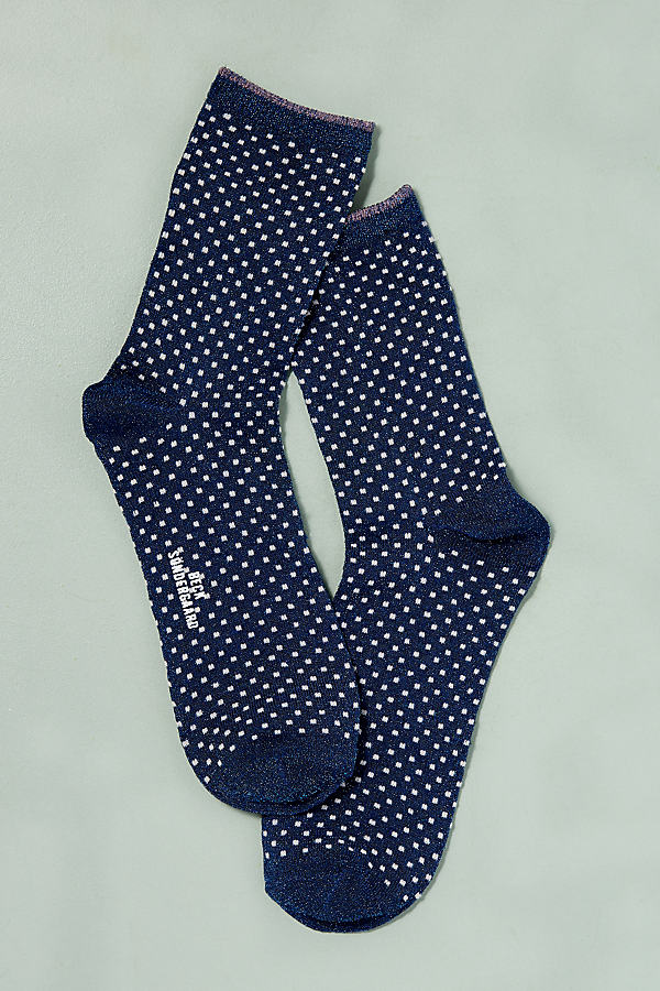 Dot Lurex Ankle Socks - Navy, Size S/m
