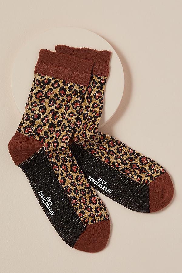Chaussettes pailletées motif léopard - Becksondergaard - Modalova