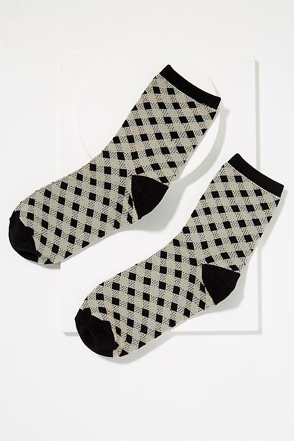 Dory Gingham Socks - Black & White, Size S/m