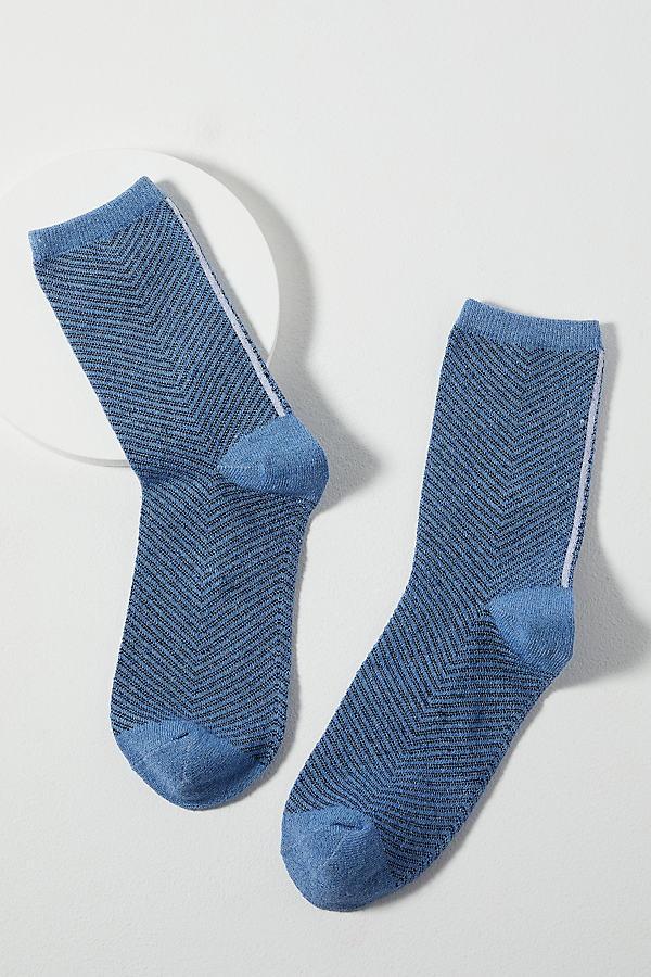 Judy Herringbone Socks - Blue, Size M/l