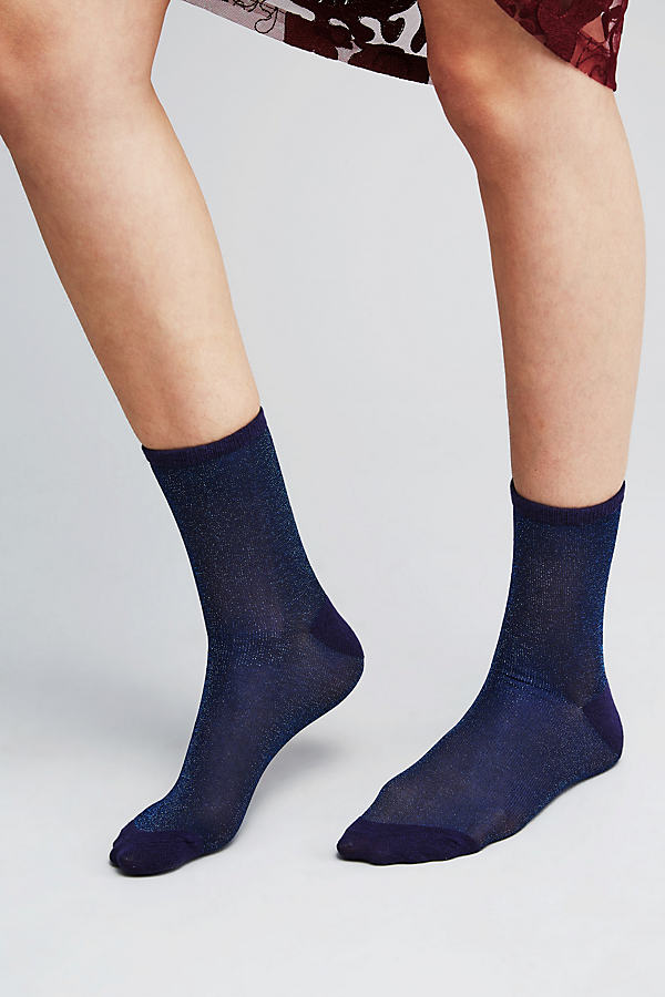 Rosana Lurex Ankle Socks - Navy, Size S/m