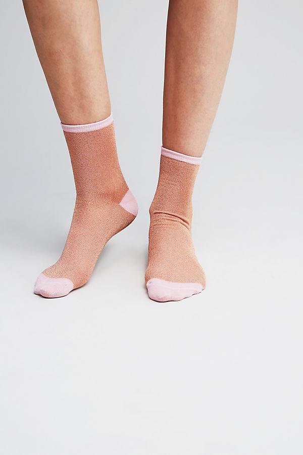 Rosana Lurex Ankle Socks - Pink, Size S/m