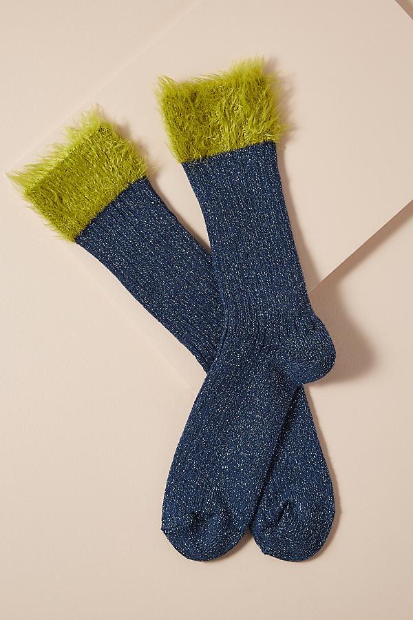 Hysteria Fluffy Socks - Blue, Size M/l