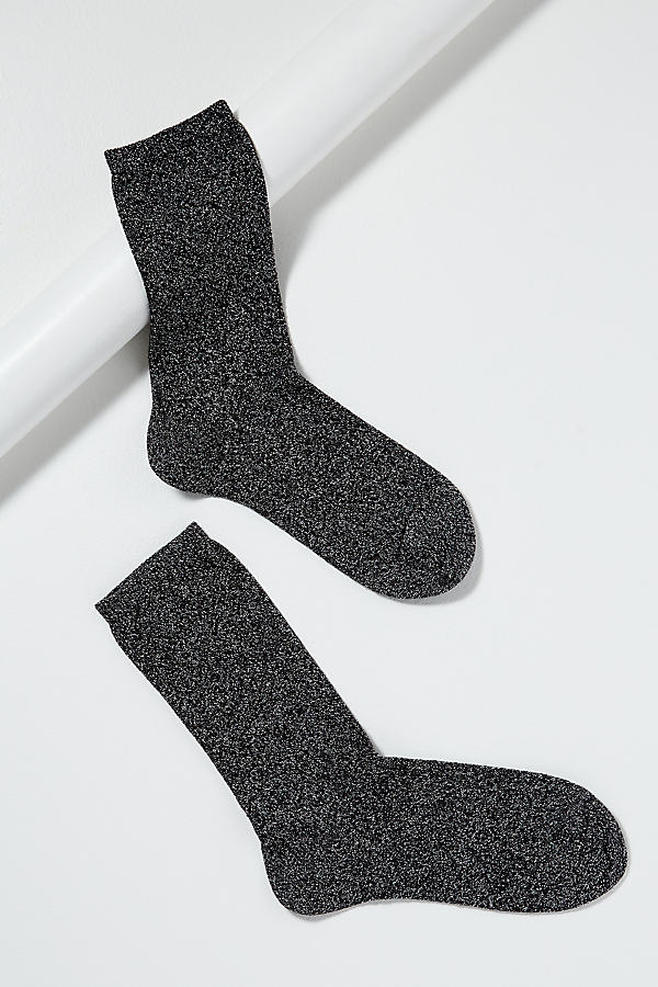 Metallic-Glitter Ankle Socks - Black, Size S/m