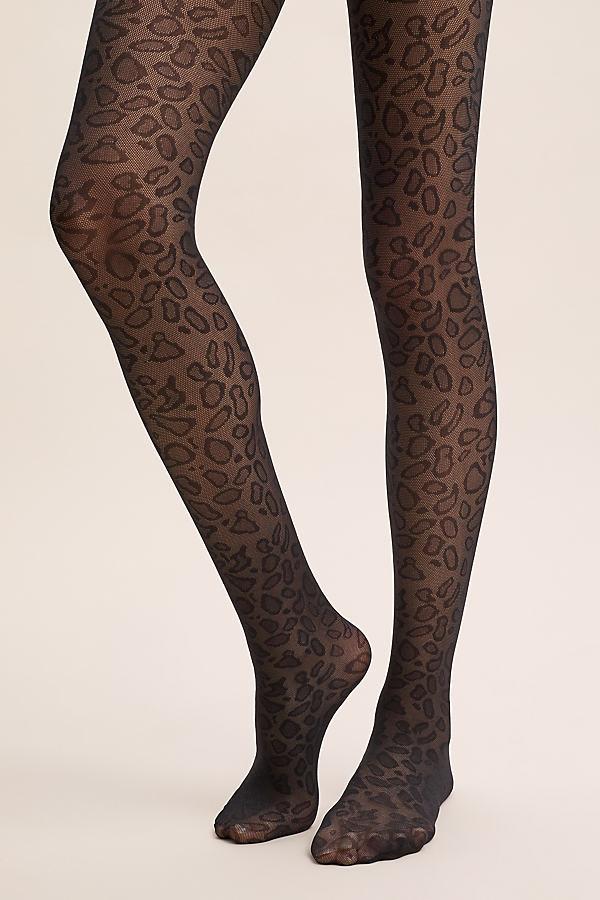 Sarah Leopard-Print Tights - Assorted, Size M/l