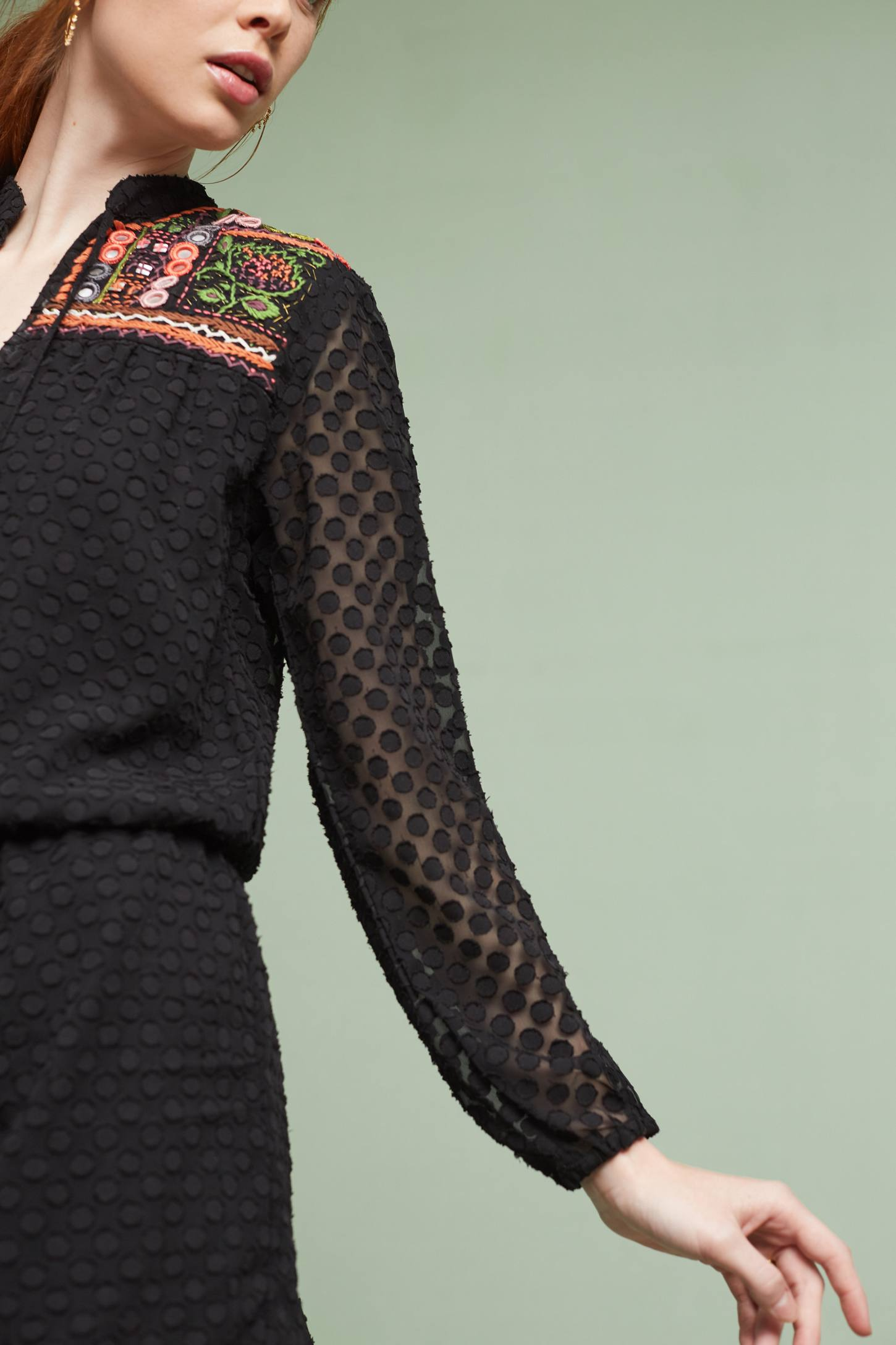 Slide View: 2: Evensong Embroidered Romper