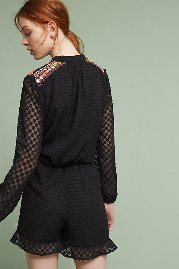 Slide View: 3: Evensong Embroidered Romper