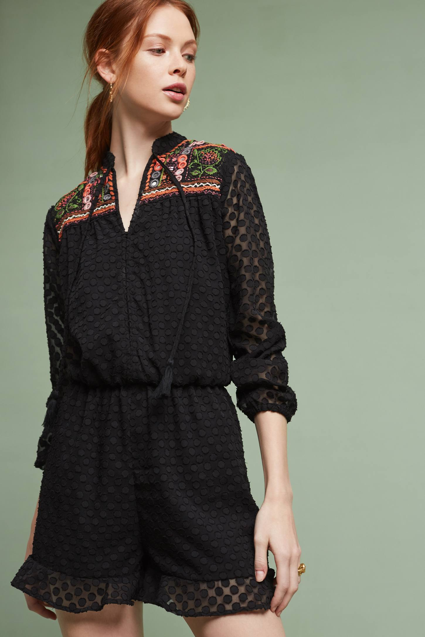 Slide View: 1: Evensong Embroidered Romper