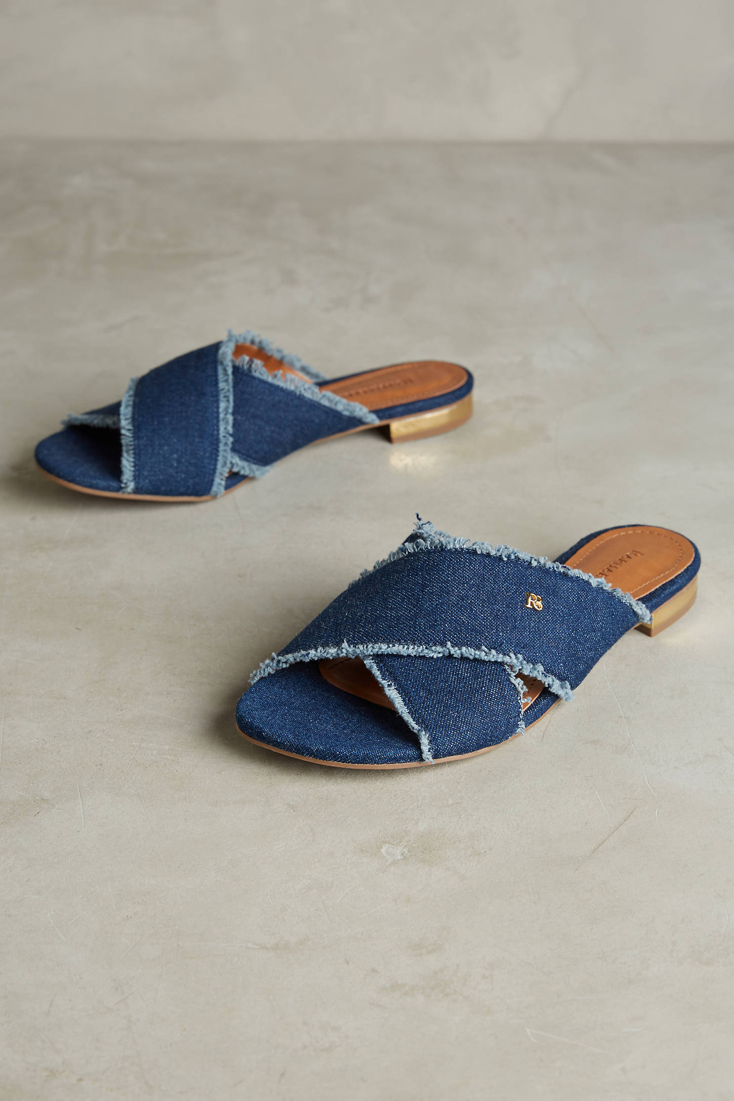 Courtney Fringed Denim Slide Sandals