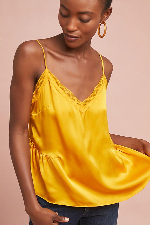 Laing Gathered Silk Lace Cami - Yellow, Size M