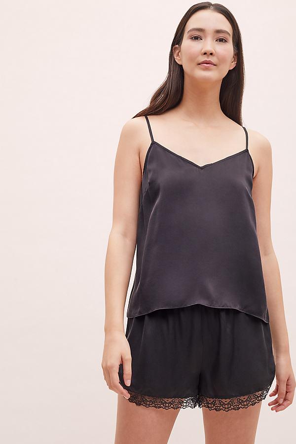 Lace-Trimmed Silk Cami - Black, Size L