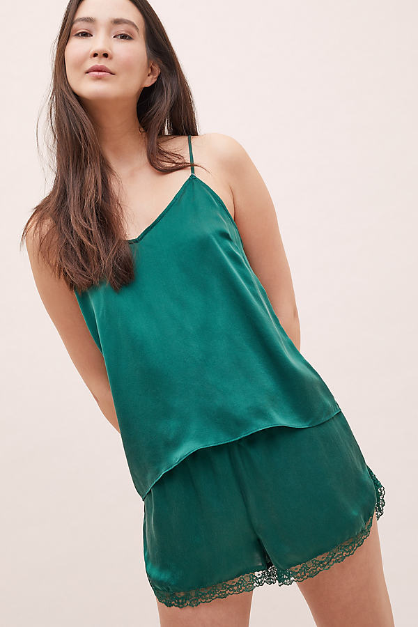 Lace-Trimmed Silk Cami - Green, Size M