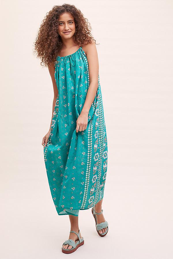 Juni Floral Beach Midi Dress - Green, Size L