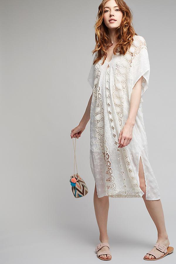 Juliana Crochet Midi Dress, White - Ivory, Size M