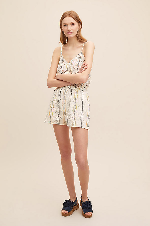 Miza Striped-Embroidered Playsuit - White, Size M