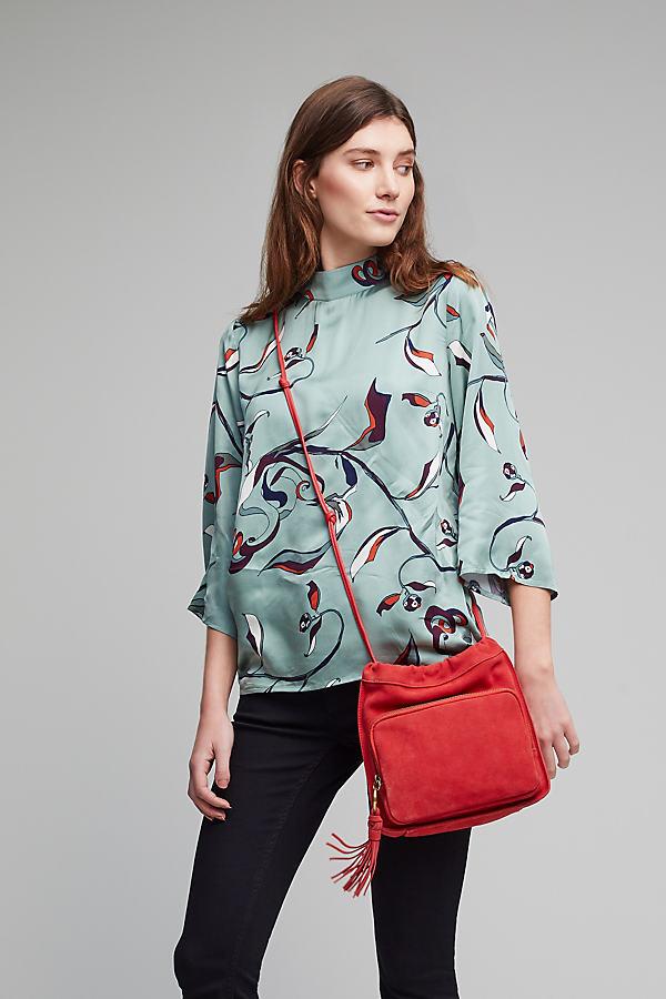 Inga Tasselled Leather Drawstring Bag - Red