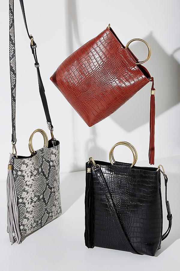 Croc-Effect Tote Bag - Black