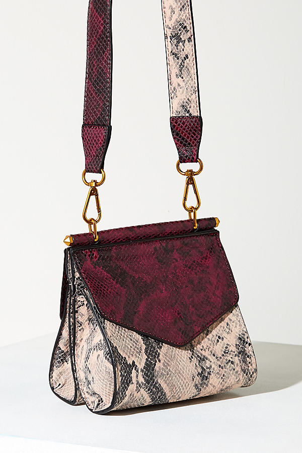 Two Tone Snakeskin Crossbody Bag - Pink
