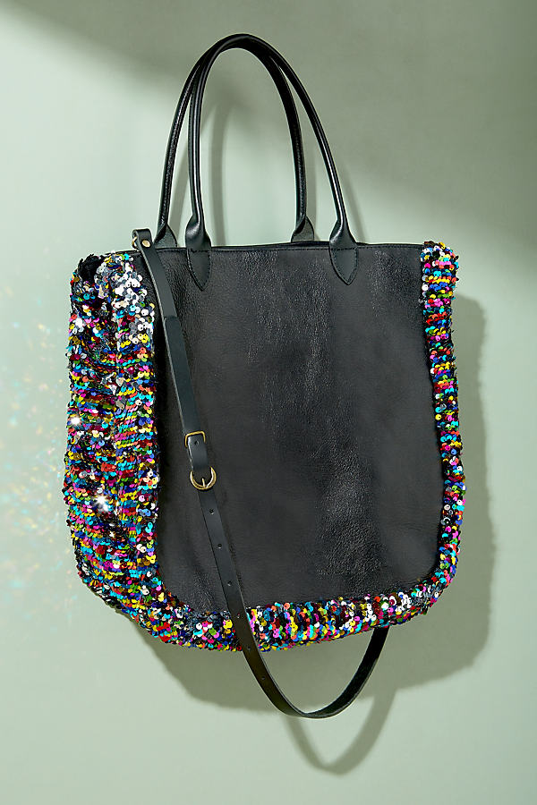 Sequin Embellished Leather Tote - Black