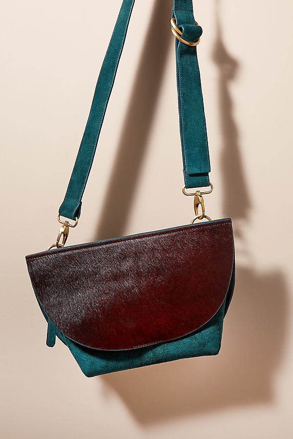 Calf Hair-Detailed Suede Crossbody Bag - Green