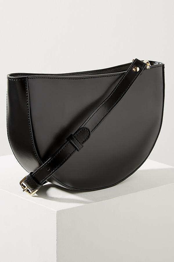 Clara Half-Moon Crossbody Leather Bag - Black