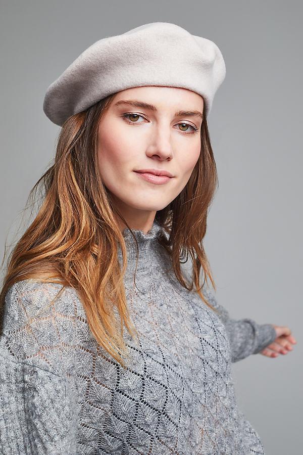 Wool Beret - Light Grey