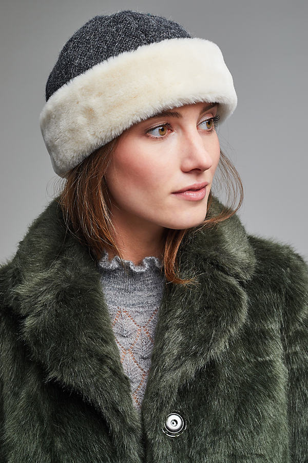 Kalena Faux Fur Pillbox Hat - Dark Grey