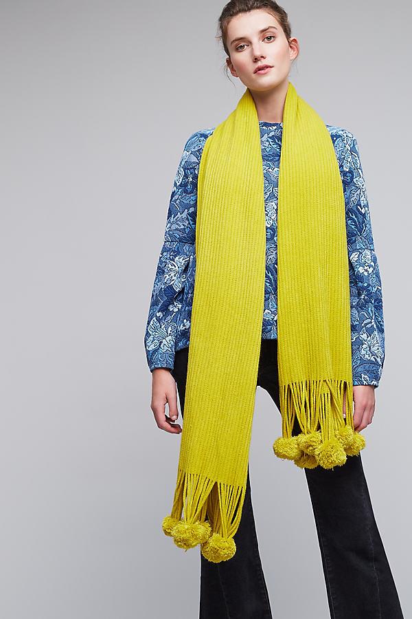 Vina Pom Pom Tassel Scarf - Yellow