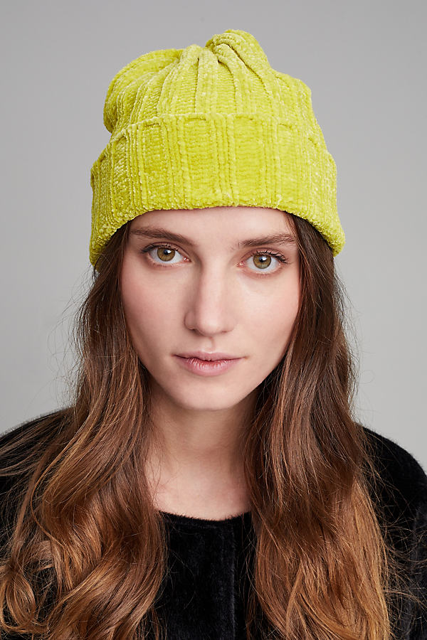 Chenille Ribbed Beanie - Yellow