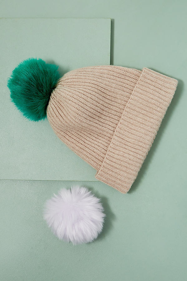 Wool and Cashmere 2 Pom Beanie - Nude/chair