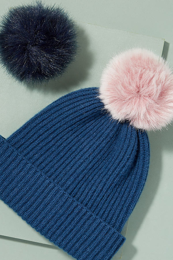 Wool and Cashmere 2 Pom Beanie - Navy