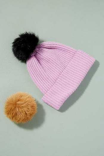 Wool and Cashmere 2 Pom Beanie