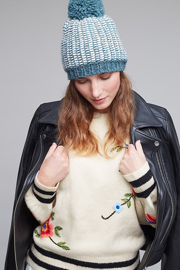 Chevron Pom Pom Hat - Blue